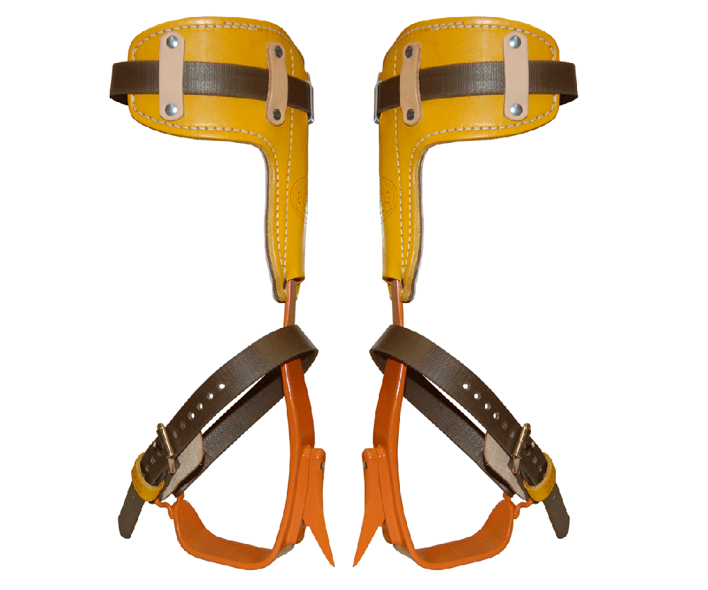 Bashlin twisted steel climbing spikes with leather pads
