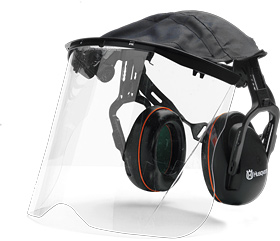 Husqvarna earmuffs with Perspex visor & cover